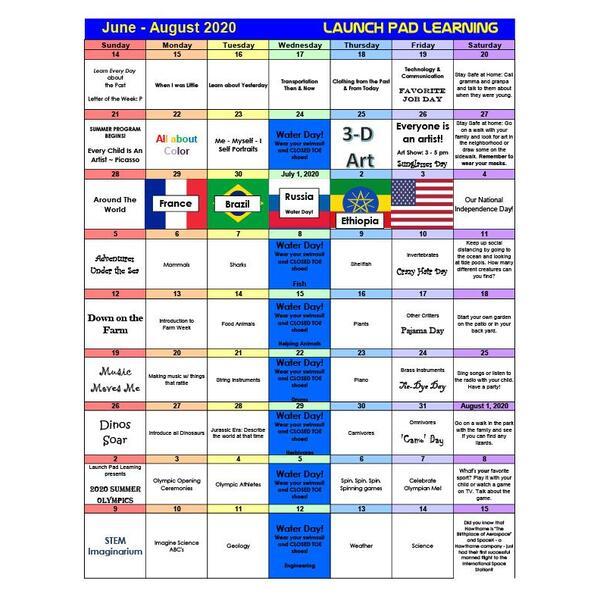 Summer 2020 Calendar